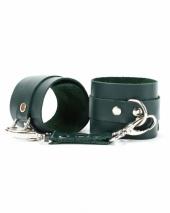 Кожаные наручники цвета изумруд BDSM Арсенал