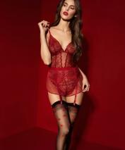 Кокетливые чулочки под пояс Alice с красными сердечками 20 den 5(XL)