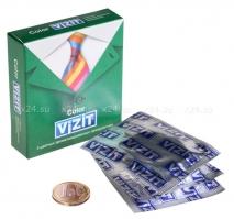 Презервативы VIZIT COLOR с ароматом (мята,банан,клубника), 3 шт.
