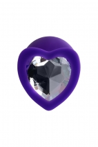 Средняя силиконовая втулка с прозрачным кристаллом в виде сердца Diamond Heart