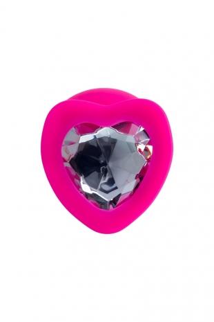 Большая силиконовая втулка с прозрачным кристаллом в виде сердца Diamond Heart