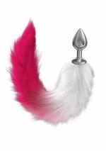 Средняя анальная пробочка с пушистым хвостом Diamond Starlit Pink