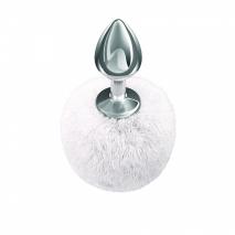 Металлическая анальная пробка с белым хвостиком Diamond Twinkle White