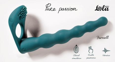 Эрекционная вибронасадка для двойного проникновения Pure Passion Farnell