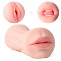Двухсторонний мастурбатор Debby (вагина и ротик с язычком и зубками)