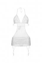 Белый комплект с разрезами на груди XL