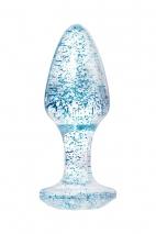 Прозрачная анальная втулка с голубыми блестками TOYFA