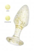 Прозрачная анальная втулка с золотыми блестками TOYFA