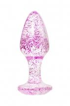Прозрачная анальная втулка с фиолетовыми блестками TOYFA