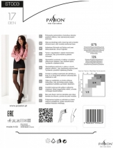 Черные чулочки с широкой кружевной резинкой на силиконе Passion (17 den, 3/4 размер)