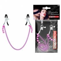 Зажимы на соски с фиолетовой цепью и украшением
