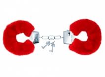 Красные меховые наручники Notabu BDSM