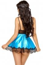 Эротический черно-голубой пеньюар с кружевом Eve chemise LXL