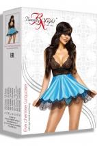Эротический черно-голубой пеньюар с кружевом Eve chemise SM
