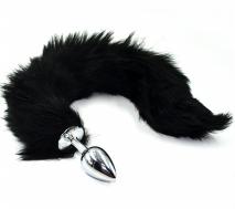 Серебряная анальная пробка с черным гибким хвостом (Small)