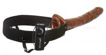 Фаллопротез на эластичном креплении 10'' Chocolate Dream Vibrating Hollow Strap-On