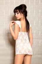 Ночная кружевная белая сорочка со стрингами SM