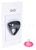 Серое треугольное эрекционное кольцо на пенис OVO с вибрацией