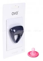 Синее треугольное эрекционное кольцо на пенис OVO с вибрацией