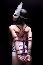 Кожаная женская маска зайки белая Matryoshka_Leather