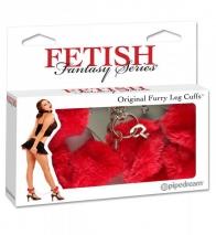 Наручники с искусственным мехом Original Furry Leg Cuffs красные